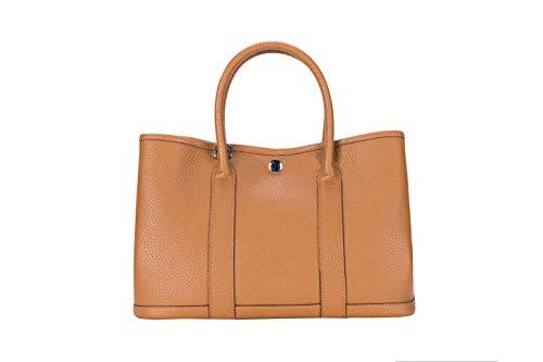 (LUCKYSGY Women's Tote Bag Shoulder Bag Genuine Leather Top Handle Handbags (Camel))