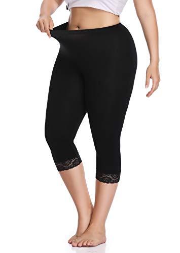 Raddzo Women's Plus Size Cotton Capri Cropped Leggings Lace Trim Soft Tights Pants, Black, XL (Lacy Leggings For Women)