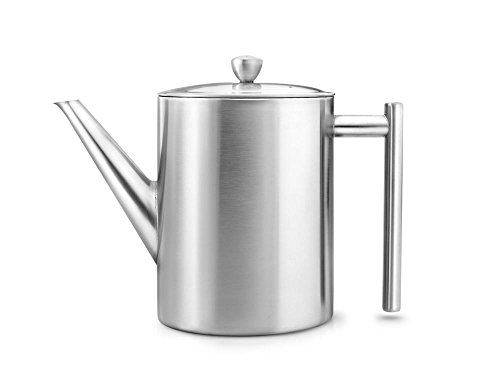 (bredemeijer Cylindre Double Walled Teapot, 1.2-Liter, Stainless Steel Satin Finish)