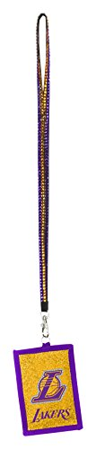 Laker Girls Costumes (NBA Los Angeles Lakers Beaded Lanyard with Nylon Wallet)