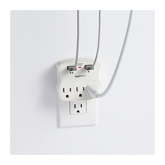 AmazonBasics 3-Outlet Surge Protector with 2 USB Ports 4 3-outlet surge-protector wall tap with 900 joules of surge protection Includes 2 USB ports-a 1.0A USB and 2.4A USB (great for charging a smartphone and tablet) Keeps plugged-in devices safe from excess voltage during an AC power surge