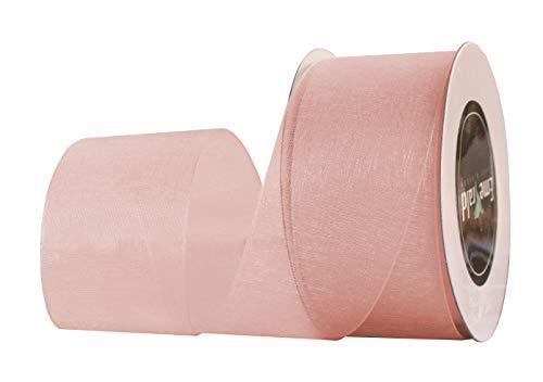 Premium Sheer Organza Ribbon, 25 Yards (Peach, 7/8 Inch) (Sheer Peach)
