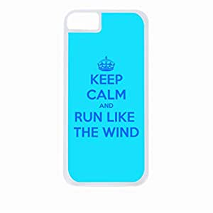 Keep Calm And Run Like the Wind-Hard White Plastic Snap - On Case with Soft Black Rubber Lining-Apple Iphone 4 - 4s - Great Quality!