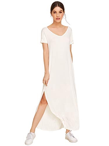 MAKEMECHIC Women's Casual Loose Pocket Long Dress Short Sleeve Split Maxi Dress White L