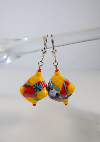 - Yellow and Multi-color Bright Crystal Shaped Lampwork Bead Earrings with Sterling Silver Leverback Ear Wires