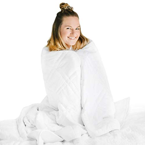 Cheap Nuzzie Cooling Weighted Blanket - 12 lbs Full/Queen 48x72 - Adult or Teen - 100% Soft Cotton with Hypoallergenic Glass Beads - Double Stitching - White Black Friday & Cyber Monday 2019