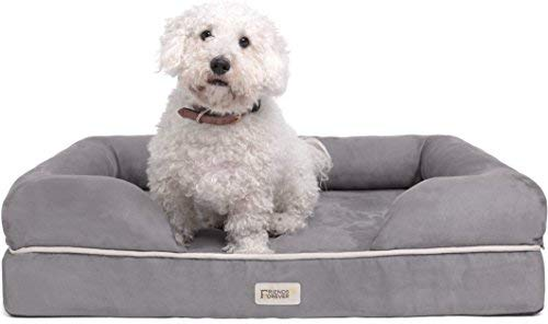Orthopedic Dog Bed Lounge Sofa Removable Cover 100% Suede 2.5' Mattress Memory-Foam Premium Prestige Edition 20' x 25' x 5' Pewter Grey Small