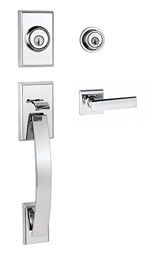 Kwikset Tavaris Double Cylinder Handleset w/Vedani Lever featuring SmartKey in Polished Chrome
