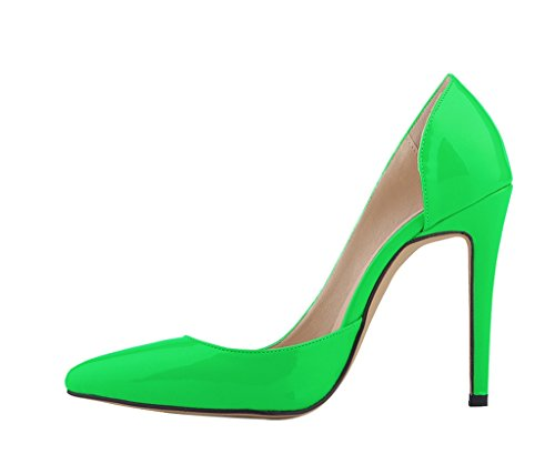 Women's Elegant Pointed Toe D'orsay Stiletto Dress Pumps Shoes green patent pu