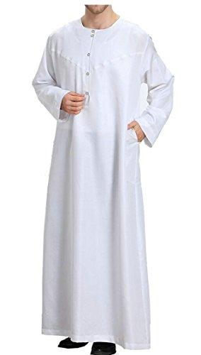 GenericMen Clothing Islamic Robes Prayer Dress Abaya Set Ethnic Costumes Middle East Saudi Arabic White M