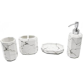 Bathpro Marble Style Bath And Shower Accessories ,4 PIECE Bath Ensemble,Bath  Set