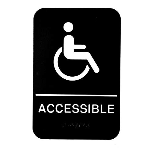 Alpine Industries ADA Handicap Accessible Sign - Self Adhesive Black & White Plastic Wheelchair Symbol Board W/Braille for Handicapped for Restaurant & Business Walls/Doors