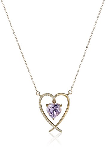 (10k Yellow Gold Pink Amethyst Center with Diamond Accent Frame Necklace (0.07cttw) 17