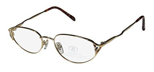 Paolo Gucci 7222r Mens/Womens Cat Eye Full-rim Eyeglasses/Glasses (50-18-0, Gold / - Gucci Eyeglasses Frames Titanium