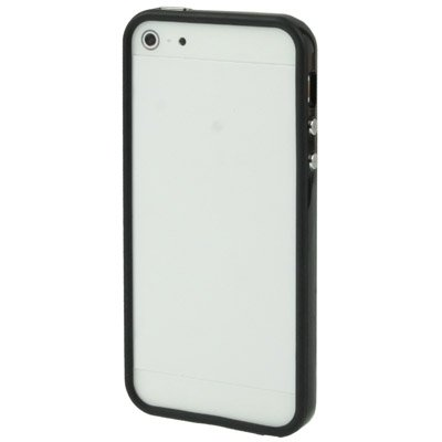 Mxnet Marco de parachoques de plástico con botones para iPhone 5 Fundas ( Color : White ) Black