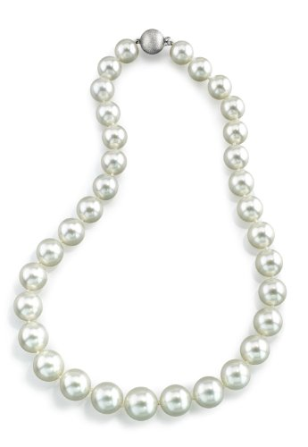 (THE PEARL SOURCE 14K Gold 11-13mm Round Genuine White South Sea Cultured Pearl Necklace in 16