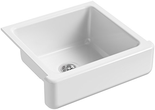 - KOHLER K-5664-0 Whitehaven Self-Trimming Undermount Single-Bowl Kitchen Sink with Short Apron, 23-1/2 x 21-9/16 x 9-5/8-Inch, White