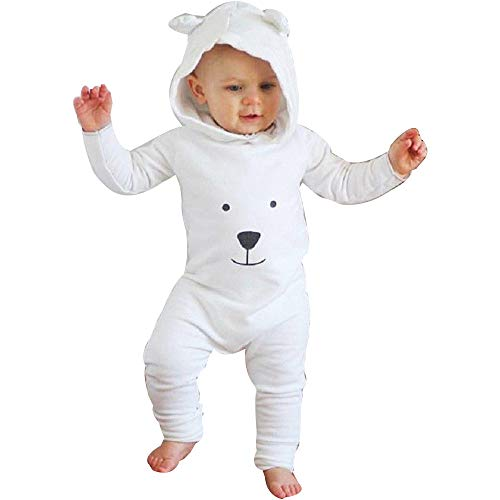 Baby Clothes Set, Boys Girls Cartoon Bear Romper Infant Hooded Jumpsuits (12-18 Months, White)