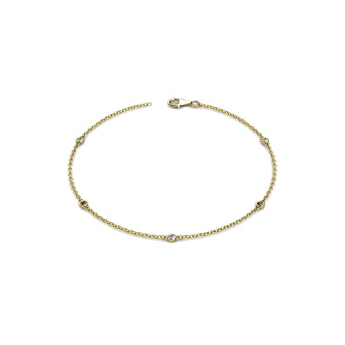 - TriJewels 5 Stations Petite Iolite and Diamond Station Bracelet 0.15 cttw in 14K Yellow Gold