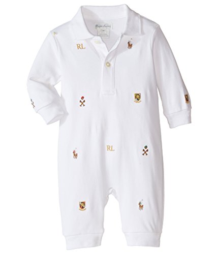 - Ralph Lauren Baby Interlock Novelty Schiffli Coveralls Infant White Boy's Overalls One Piece