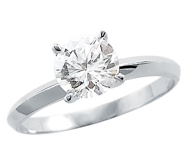Size- 5.5 - Solid 14k White Gold Round Solitaire CZ Cubic Zirconia Engagement Ring 1.0 ct