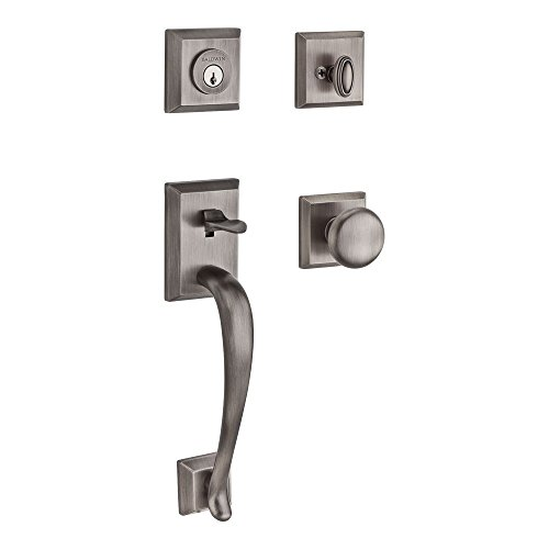 Brass Round Single (Baldwin SCNAPXROUTSR152 Reserve Single Cylinder Handleset Napa x Round with Traditional Square Rose in Matte Antique Nickel Finish)