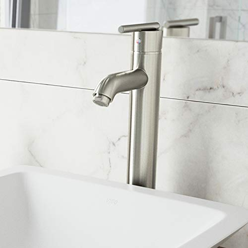 VIGO VG03009BN Seville Solid Brass Single Handle Vessel Basin Faucet, High Arc Single Hole Install, Premium 7-Layer Plated Brushed Nickel Finish