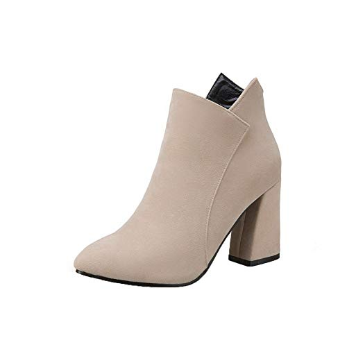 AalarDom Women's Frosted Zipper Pointed-Toe High-Heels Ankle-High Boots,