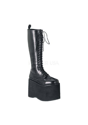 Demonia Pleaser Gothic Punk Unisex 5 3/4 Inch Platform Lace Up Knee Boot (Black PU;8)