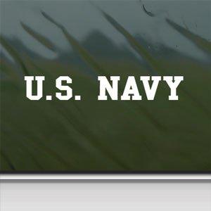 US NAVY Banner USN White Sticker Car Vinyl Window Laptop White Decal