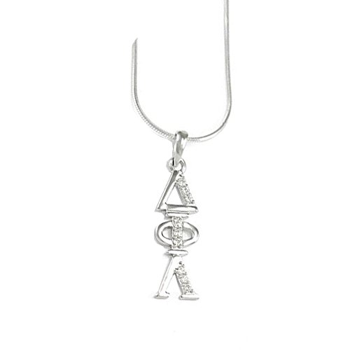 Greekgear Delta Phi Lambda Sterling Silver Lavaliere Set with Lab-Created Diamonds ()