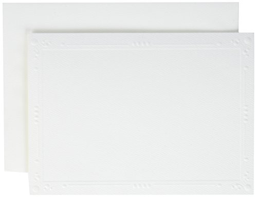 Strathmore (105-230 Photo Mount Cards Decorative Embossed Border, White, 50 Envelopes