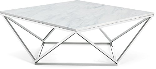 (Meridian Furniture 244-C Skyler Stainless Steel Coffee Table with Stone Top, L x 36