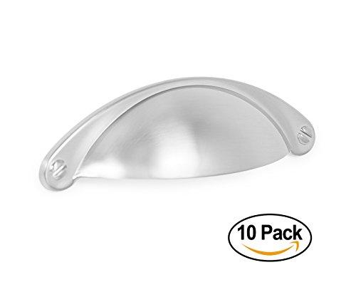 BirdRock Home Decorative Handle Pull | Brushed Nickel | 10 Pack | 2.5 Inch Kitchen Cupboard Furniture Cabinet Hardware Drawer Dresser Pull