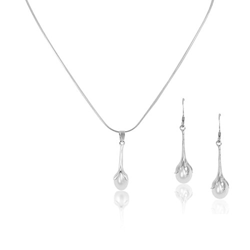 Tulip Pearl Necklace Earrings set 14K White Gold Over Sterling Silver Hypoallergenic 16