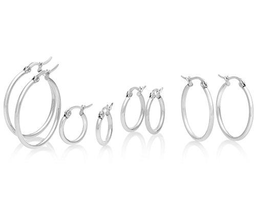Stainless Steel Hoop Earrings 4 Pair Set with Stainlees Post Backings, 15mm, 18mm, 25mm, 30mm, By Regetta Jewelry