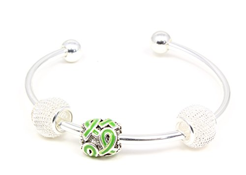 Green Multi Ribbon Charm with 2 Mesh Beads on Cuff Bracelet Buy 1 Give 1