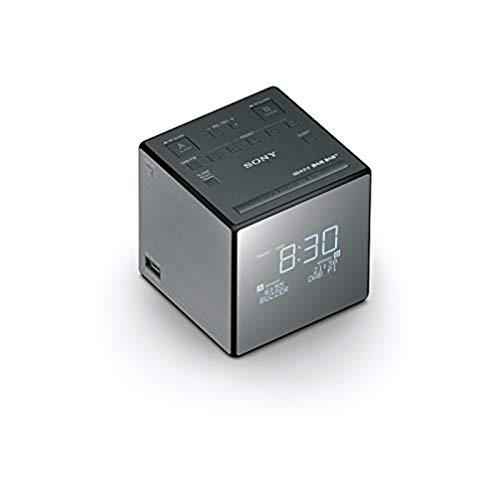 Sony XDRC1DBP Horlogeradio, DAB/DAB+, Digitale Radio-Ontvangst, Grote Klok met Helderheidsregeling, USB, Grijs