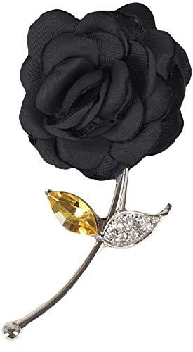 Flairs New York Gentleman's Essentials Premium Handmade Flower Lapel Pin Boutonniere (Black Enchanted Rose)
