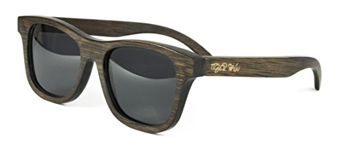 Tiger Paw - Wayfarer Bamboo Sunglasses for Men and Women, Polarized, UV400 Protection (Dark Brown, - Recycled Be Sunglasses Can