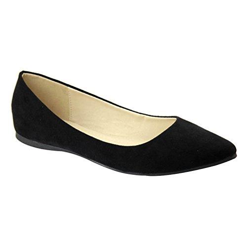 ShoBeautiful Women's Classic Pointy Toe Ballet Flat Shoes Soft Casual Dressy Slip On Loafer Flats Black 6.5