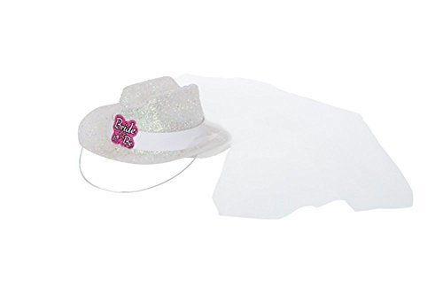 Bachelorette Party 'Bride to Be' Mini White Glitter Cowboy Hat w/ Veil (1ct) by Designware (Mini Hat With Veil)