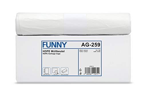 Funny HDPE vuilniszak, wit, circa 30 l, per stuk verpakt (1 x 1000 stuks)