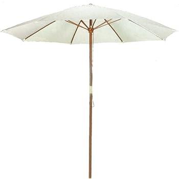 9u0027 Natural Shade Patio Umbrella   Outdoor Wooden Market Umbrella Product  SKU: UB50020