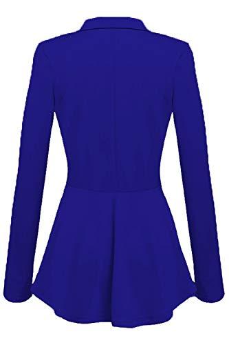 Giacca Maniche Le Lunghe Completo Donne Blu Pulsante Zinmuwa Hem collo Irregolare A COq4xUt