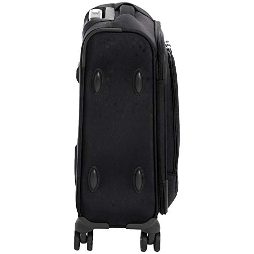 AmazonBasics Premium Expandable Softside Spinner Luggage With TSA Lock - 18-Inch International Carry-On, Black