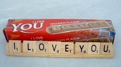 Scrabble Design I Love You Plaque on Wooden Game Tray by Scrabble
