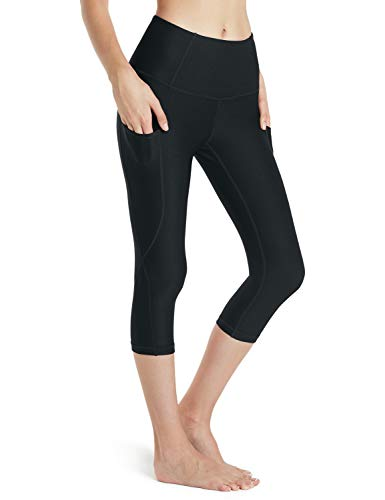 TSLA Yoga 17 Inches Capri Mid-Waist Pants w Hidden Pocket, Pocket Thick Contour(fyc24) - Black, Small (Size 6-8_Hip37-39 Inch) ()