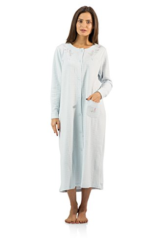 Casual Nights Women's Long Quilted Robe House Dress - Blue - X-Large