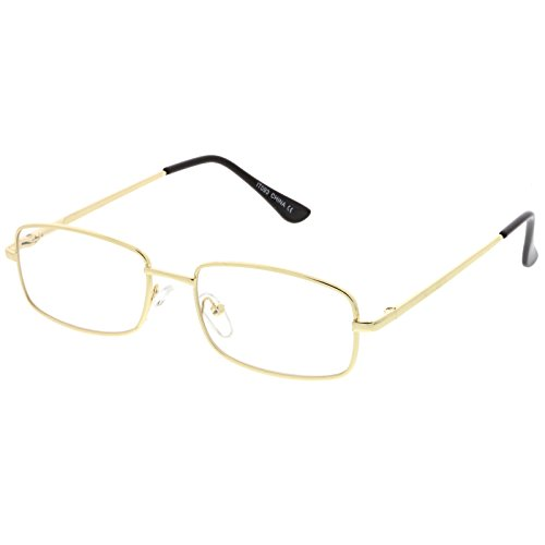 sunglassLA - Classic Rectangle Eye Glasses Thin Metal Clear Lens 50mm (Gold / - Sunglasses Rectangle Thin